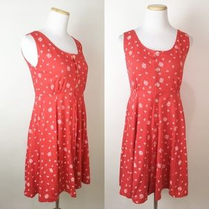 VTG 90s Red Ditsy Floral Print Jersey Mini Dress